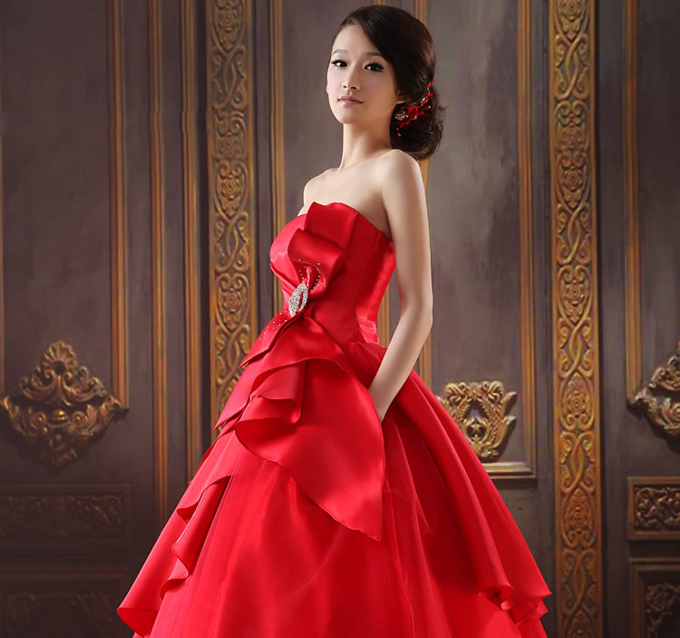 Red wedding dress red evening dress korean bra toast for Red and black wedding dresses for sale