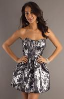 Short Strapless Silver Dress by LA Glo