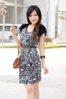 Simulation Silk Printed Short-sleeve Dress