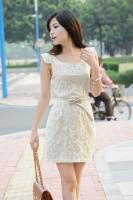 Bow Lace Waist Sleeveless Dress