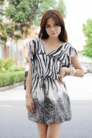 Fashion Spun Silk Printing V Neck Dress