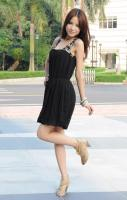 Fashion Composite Wire Shoulder Beads Sleeveless Dress