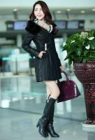 Ladies Winter Long Section of PU Leather Coat